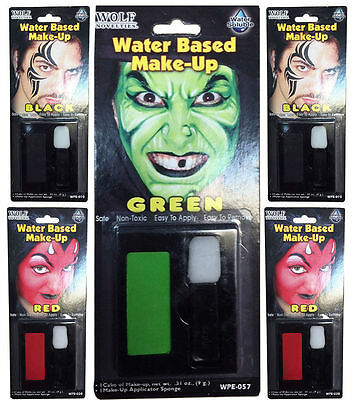 Halloween Horror Water Based Make Up & Sponge Set Face Paint Witch Devil Zombie - Water Based Halloween Makeup