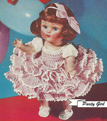 Vintage Crochet Pattern 8 Doll Clothes Ruffled Party Dress Slippers Party Girl