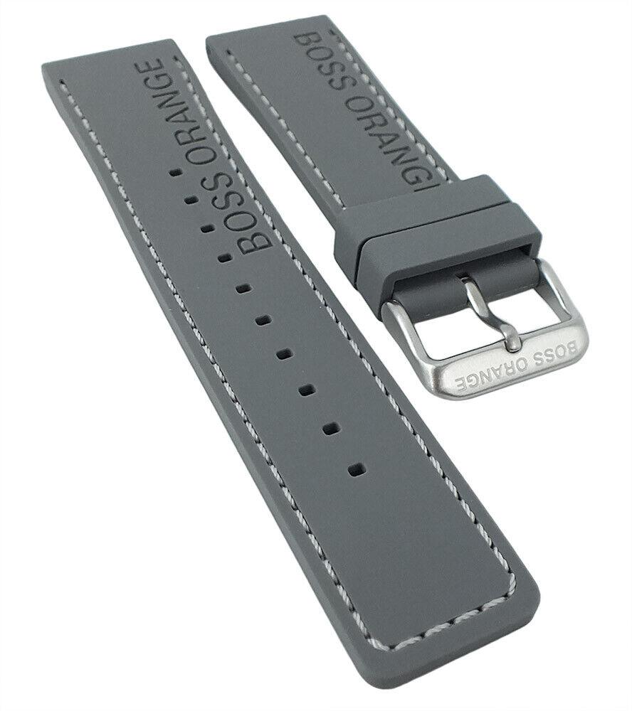 Hugo Boss 1513251 | Uhrenarmband 24mm aus Silikon, grau mit Naht 30236