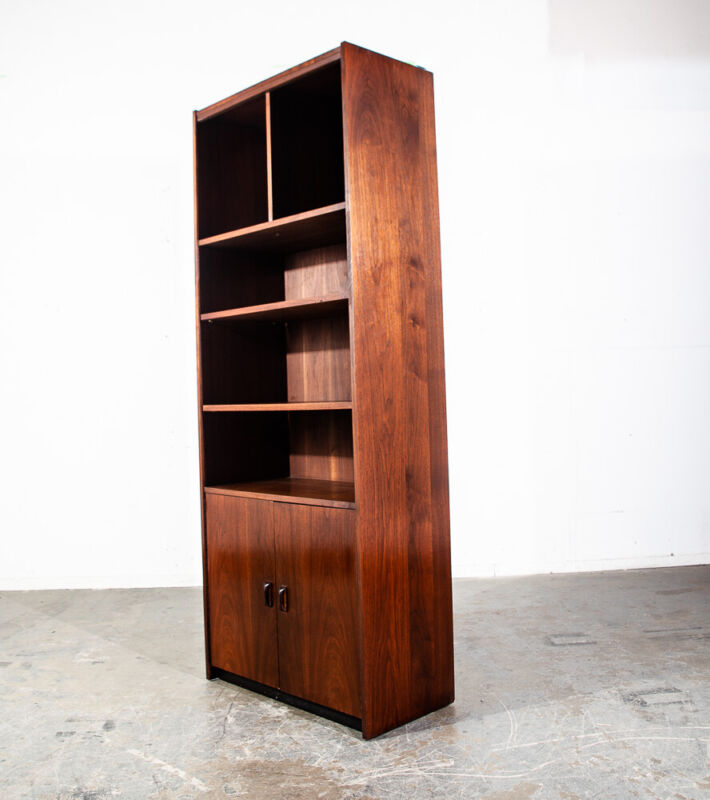 Mid Century Modern Bookshelf Book Shelf Shelving Storage Cabinet Walnut Mcm Wood