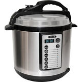 Bella - 6-Quart Pressure Cooker - Black/Silver
