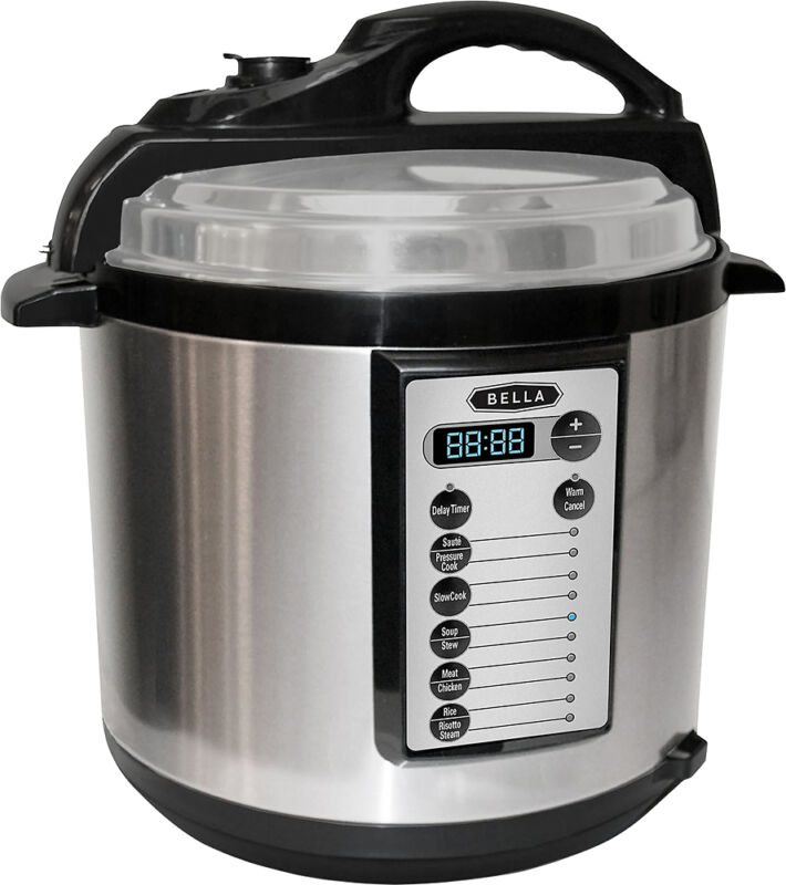 Bella - 6-Quart Pressure Cooker - Black/Silver