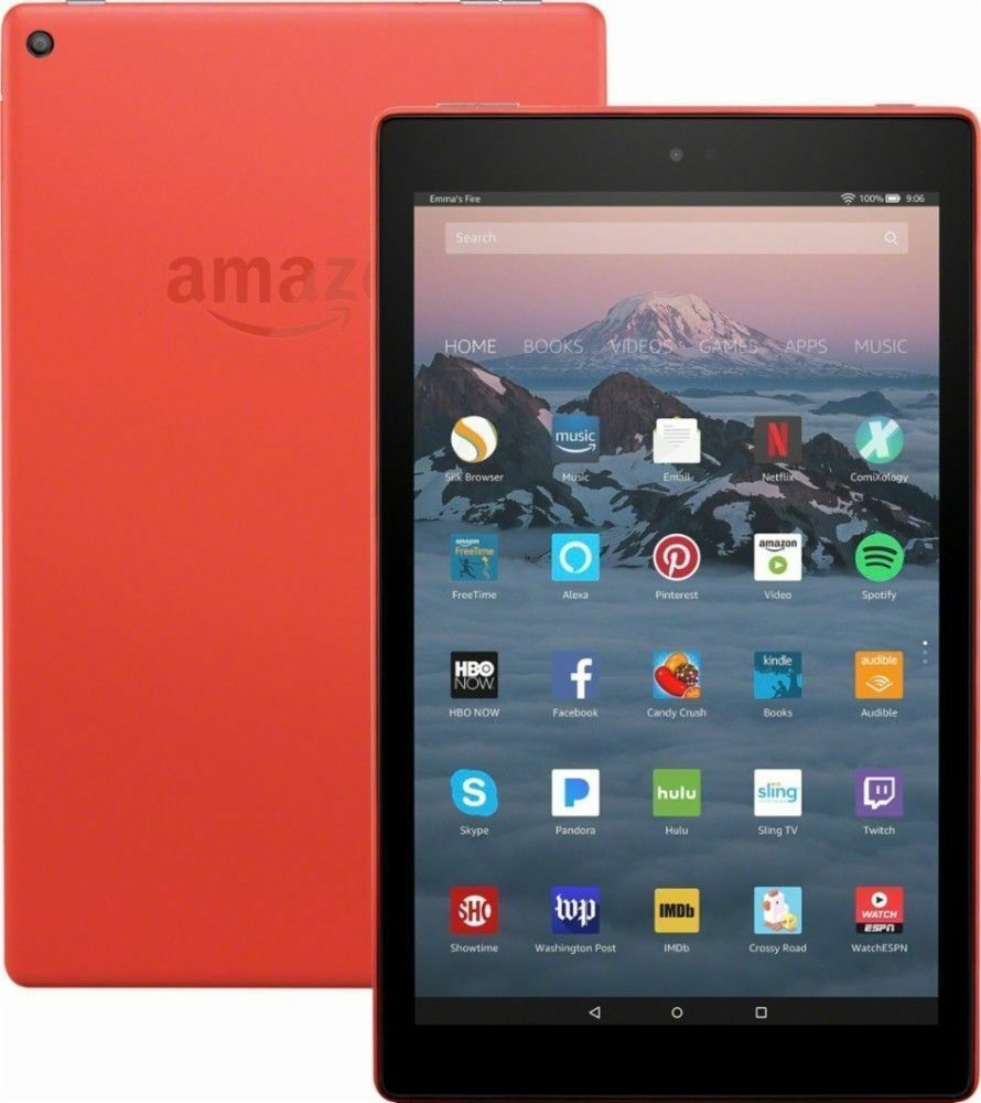 "Amazon Fire HD, 10.1"" - Red Bundle with Punch Red Case - NEW"