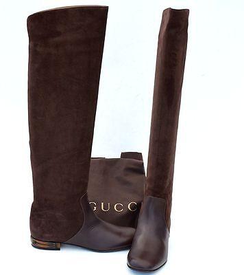 GUCCI New sz 40.5 - 10.5 Designer Riding Womens Flats Shoes Boots Bamboo Brown (Womens Bamboo Riding Boots)