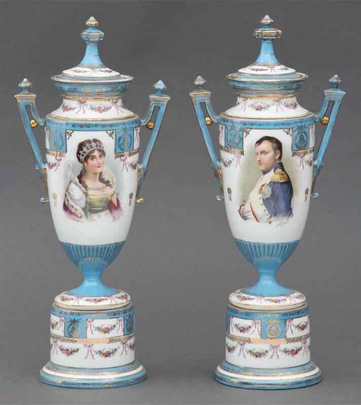 Pair of Antique Napoleon & Josephine Urns