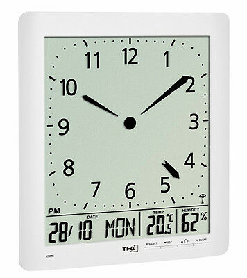 FUNK-WANDUHR MIT RAUMKLIMA TFA 60.4515.02 FUNKWANDUHREN ANALOG LCD FUNKUHR
