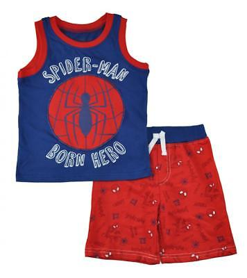 Blue Toddler Two Piece - Spider-Man Toddler Boys Blue Tank Top Two-Piece Short Set Size 2T 3T 4T