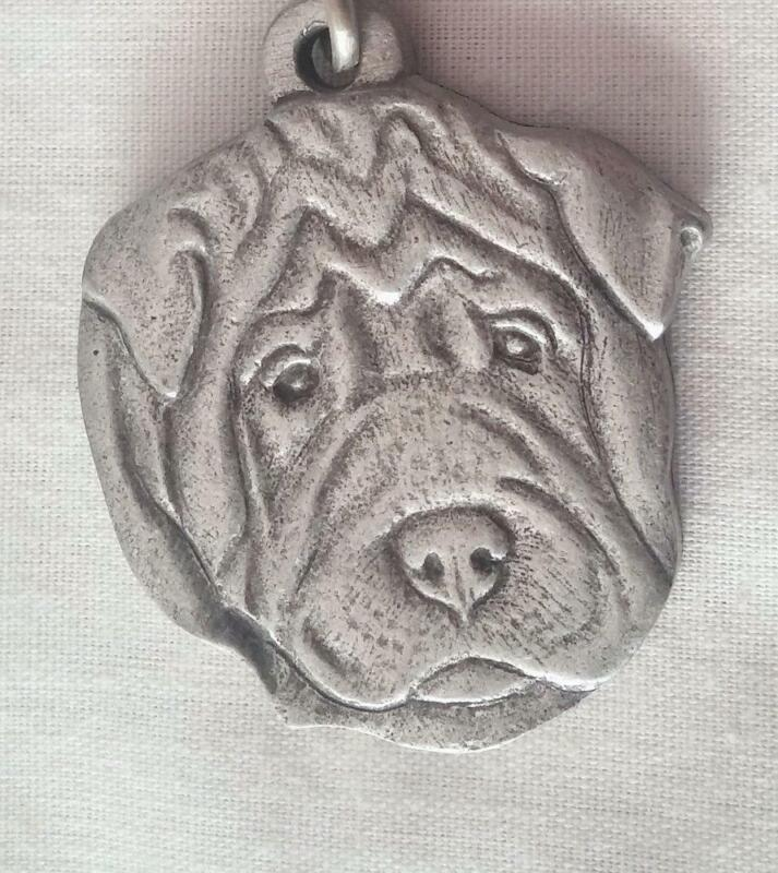 Vintage 1983 Rawcliffe Pewter I Love My SHAR-PEI Keychain Key Ring Made In USA