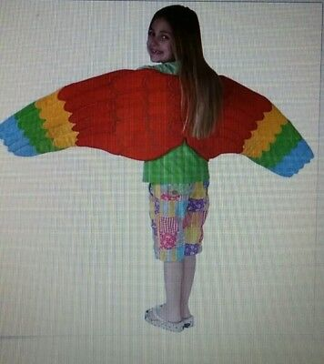 Child Full Length Parrot Costume Wings Dress Up Bird EUC