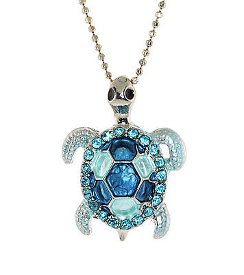 - Silver-tone Turtle Pendent,. Epoxy and Austrian Crystal Chain Necklace N-1183
