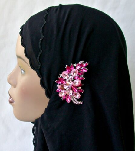 Crystal Fashion Hijab Pin Abaya Pink  Leaf color Lapel Pin