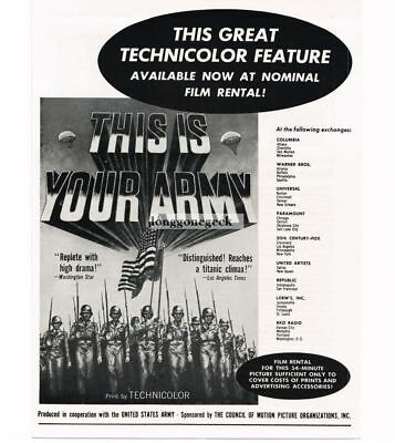 "1955 ""This Is Your Army"" US Army Film Vtg Movie promo ad"