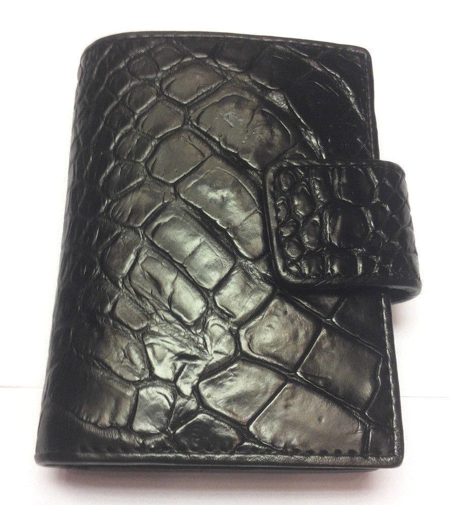 genuine crocodile wallets alligator skin leather name credit card holder black ebay. Black Bedroom Furniture Sets. Home Design Ideas
