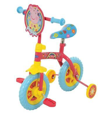 "Peppa Pig 2 In 1 Convertible Kids Girl Balance Bike Pink 10"" Stabilisers M004176"