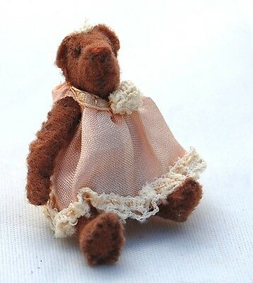 Vtg Dollhouse Miniature Tiny Teddy Bear Toy for 1:12 Doll Artisan Handcrafted