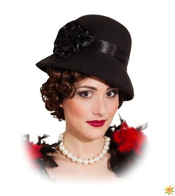 Damen Charleston Hut schwarz Kostüm Zubehör 20er Jahre Fasching Karneval