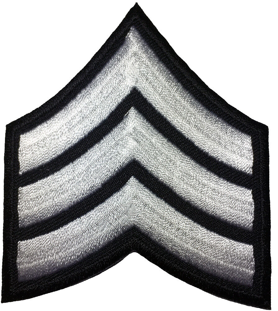 White Military Stripes Patch Rank Services Chevrons Embroidered Iron On Applique