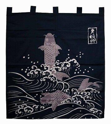 JAPANESE Noren Curtain KOI FISH HAPPY NEW MADE IN JAPAN COTTON (Noren Koi)