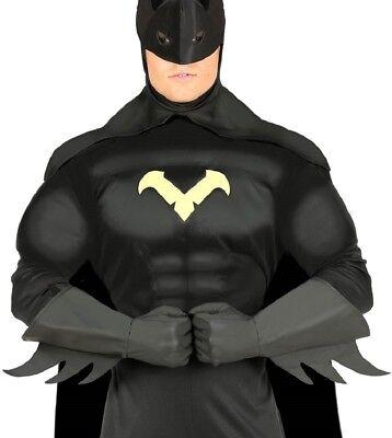 Erwachsene schwarz Kunstleder Superheld Comicbuch Kostüm Kleid Outfit Handschuhe