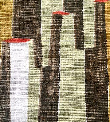 1950s/1960s VINTAGE COTTON BARKCLOTH FABRIC. PAINTERLY GEOMETRIC DESIGN.
