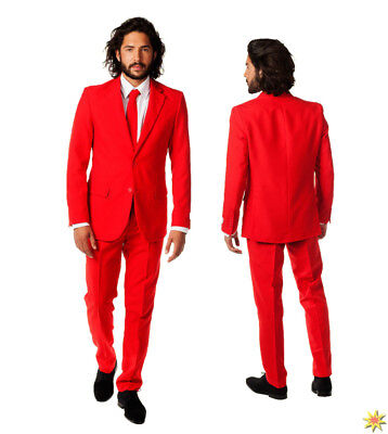 Opposuit Red Devil Herren Anzug rot Fasching Karneval Kostüm - Devil Anzug Kostüm