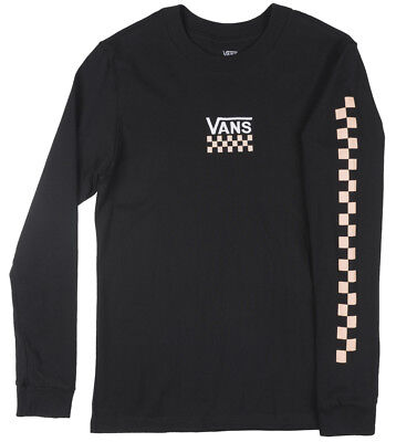 VANS Off the Wall Checkered Long Sleeve Shirt Skate Top Womens Black