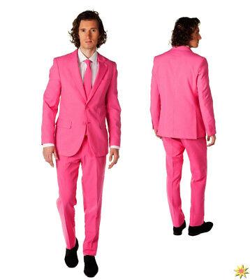 rren Anzug Krawatte Fasching JGA Karneval Spaßkostüm (Mr Pink Anzug)