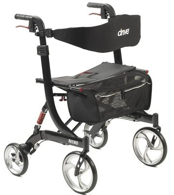 Drive Medical Hd Nitro Euro Rollator Folding Walker Adult 4 Wheels 10266Hd  New
