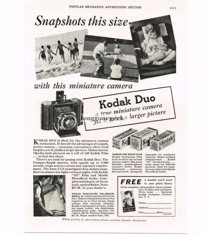 1936 Kodak Duo Miniature Folding Camera VINTAGE Print Ad