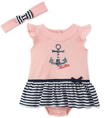Nautica Infant Girls Pink & Navy Sunsuit W/Headband Size 3/6M 6/9M 12M 18M 24M