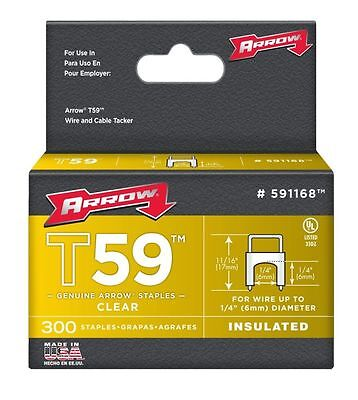 Arrow 591168 1/4in. T59 Insulated Staple 300/Box, Clear