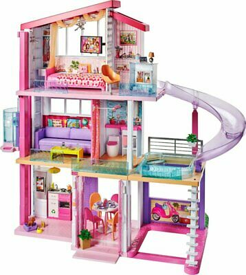 NEW Barbie DreamHouse Playset with 70+ Accessory Pieces with Pool,slide,Elevator