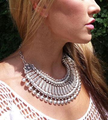 Vintage Silver Pendant Necklaces Women Fashion Statement Bib Jewelry Short Chain