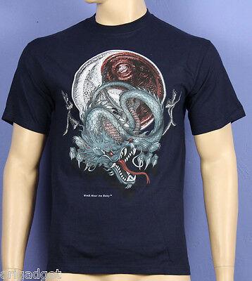 Bedruckte T-Shirt Drago Japanisch Shenlong Schriftzeichen Tao Blau Wmb02