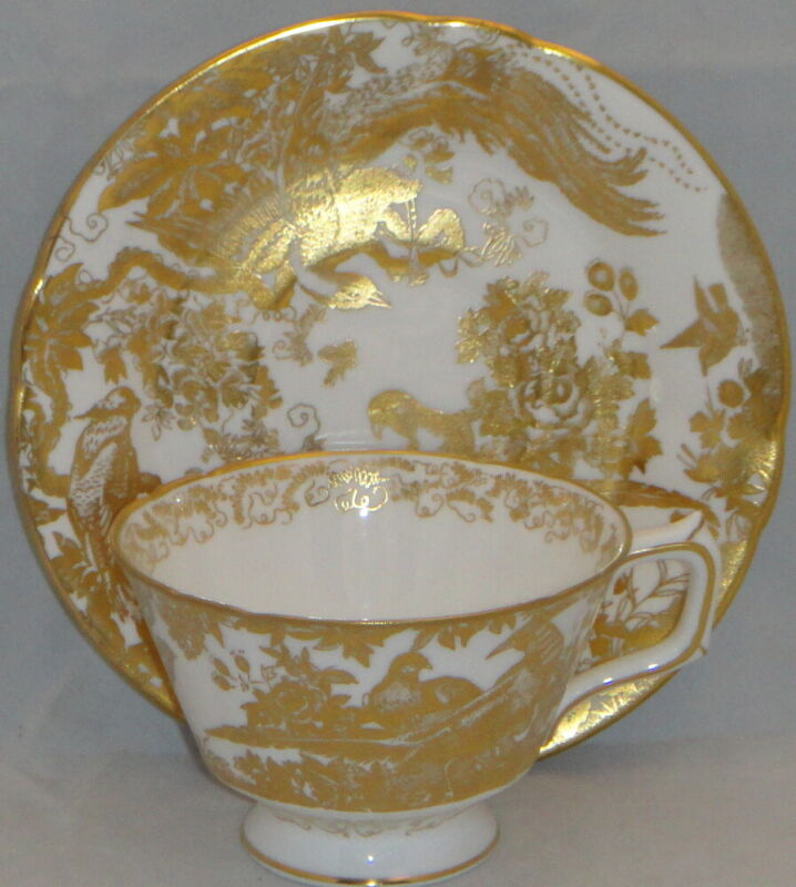 Royal Crown Derby Gold Aves Footed Cup & Saucer Set
