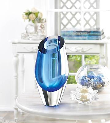 ocean BLUE abstract Handmade modern art Glass Sculpture Flower VASE centerpiece