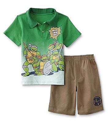 TMNT Toddler Boys Green Polo Two-Piece Short Set Size 2T 3T 4T 5T
