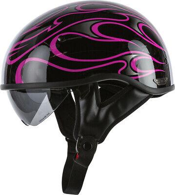 FLY RACING .357 FLAME MOTORCYCLE HALF HELMET GLOSS PINK Pink Flames Half Helmet