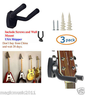3-PACK Guitar Hanger Hook Holder Wall Mount Display Acoustic or Electric. GRJ-Q3
