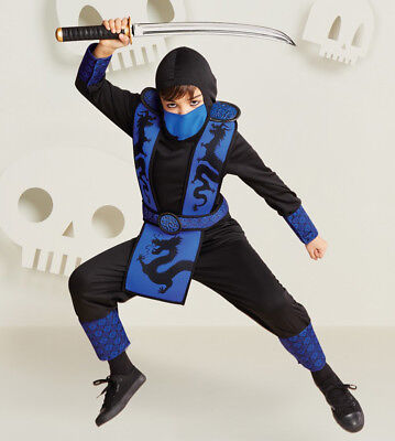 Blue Ninja Warrior Costume Child Kid Boy S M L Halloween (Ninja Costume For Boy)