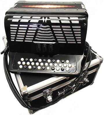 Bonetti Black 3-Switch Diatonic Button Accordion w/Case GCF 3412