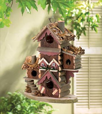 distressed shabby gingerbread Victorian Wood fairy mansion Bird house birdhouse