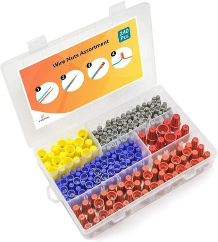 240 Pcs Wire Nuts Assortment W/ Spring Insert Wire Nuts Caps Kit Electrical NEW