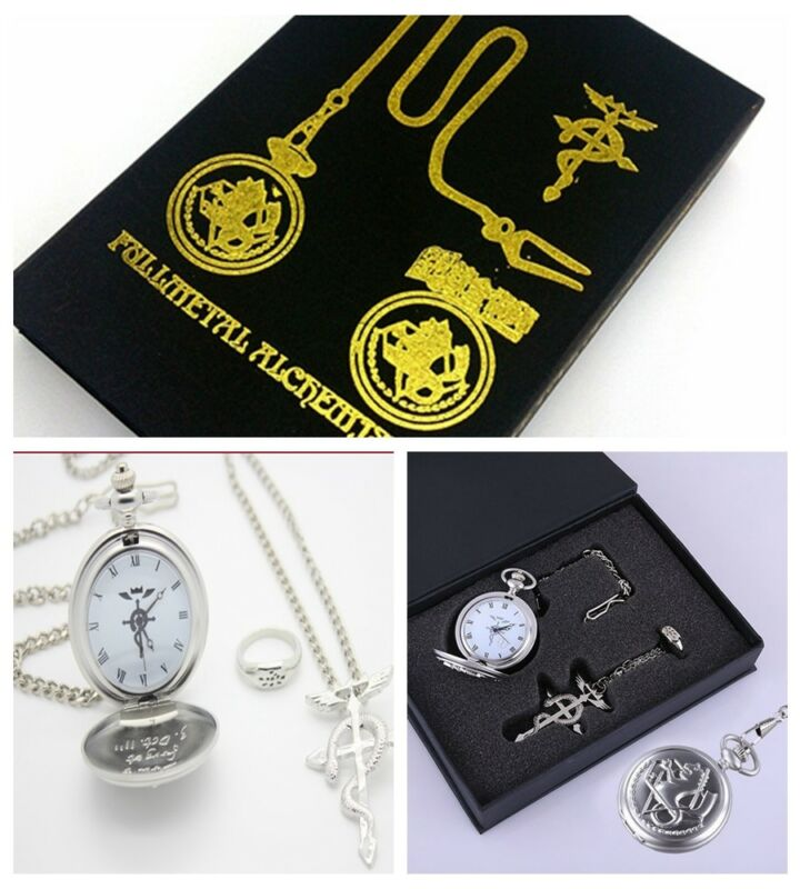 Anime cosplay Fullmetal Alchemist Pocket Watch Necklace Ring Edward Elric Gift