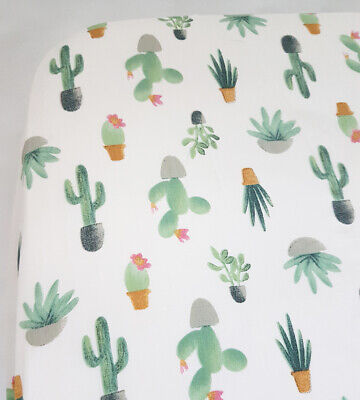 Floral Cot Girl Sheet Baby Nursery Cactus Greenery Plant for sale  Shipping to South Africa