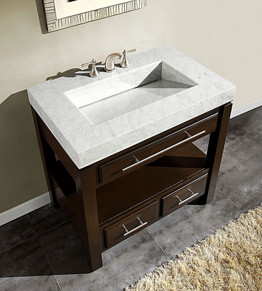 "36"" Dark Walnut Marble Stone Sink Top Cabinet Bathroom Vanity ..."