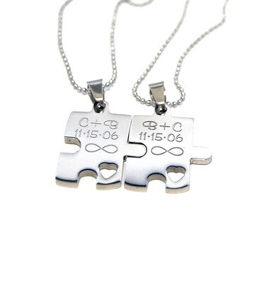 Engraved Puzzle Couples Gift Set - Necklace Gift - Puzzle Piece Necklace Set  (Puzzle Piece Necklace Set)