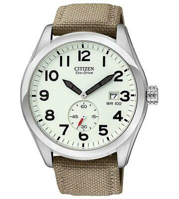 Citizen Eco-Drive Men's Calendar Ivory Dial Canvas Strap 43mm Watch BV1080-18A