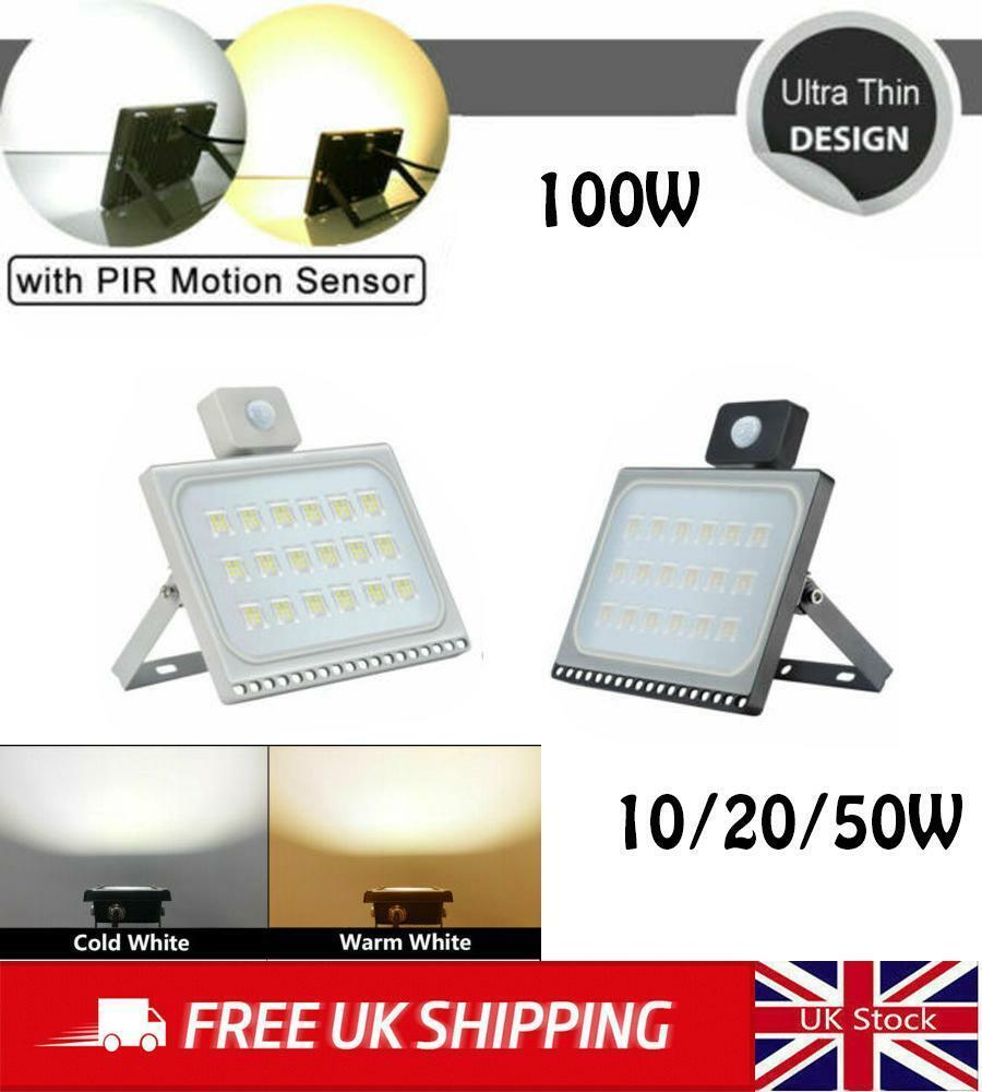 LED Floodlight PIR Sensor Motion 10//20//30//50//100W Outdoor Security Flood Light