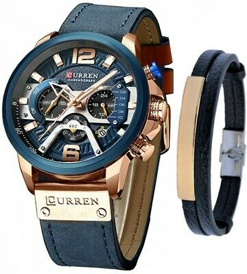 CURREN Watch Men's Chronograph Watches And Fashion Bracelet Set Reloj de Hombre
